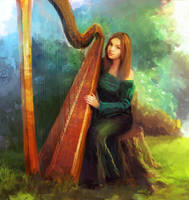 Diana and Harp by moodbringer