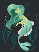 Green Mermaid by JessieDrawz