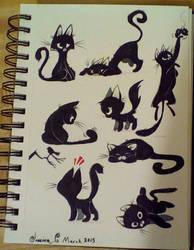 Black cats by JessieDrawz