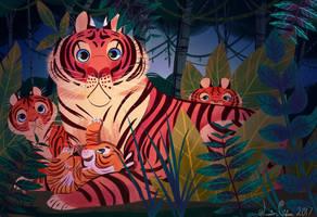 Mama Tigress and her Cubs by JessieDrawz