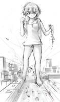 (Sketch) Asuka's rampage by Iodain