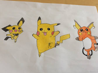 Pichu Pikachu and Raichu by Gamecubeboy2005