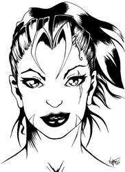 Eva Rage: Black and White Fantasy Portrait by Vestque