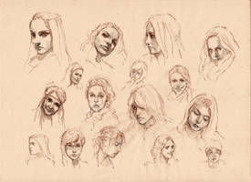 Small quick portraits sketches by SILENTJUSTICE
