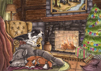 Lovely Christmas Pups by LKE-Kola