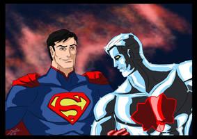 Superman and Captain Atom by adamantis