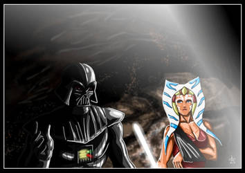 Ahsoka Tano and Darth Vader - Dark Savior II by adamantis