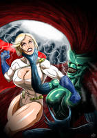 Power Girl Vs Razorjack by adamantis