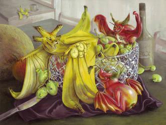 Still Life with Fruit... Bats by donnaquinn