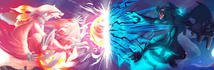 Zekrom vs Reshiram by Ninja-Jamal