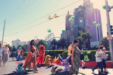 WIld pokemon encounter by Las Vegas Strip by Ninja-Jamal