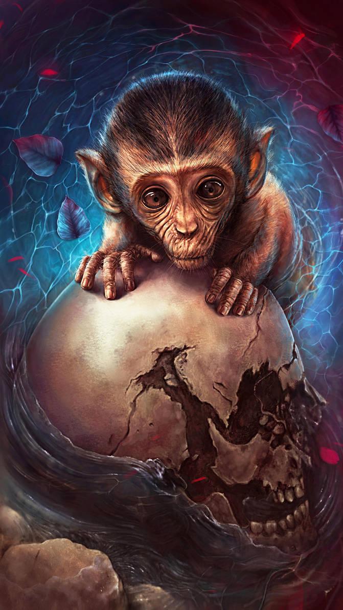 Portrait of a monkey with a skull by Cyfrolit