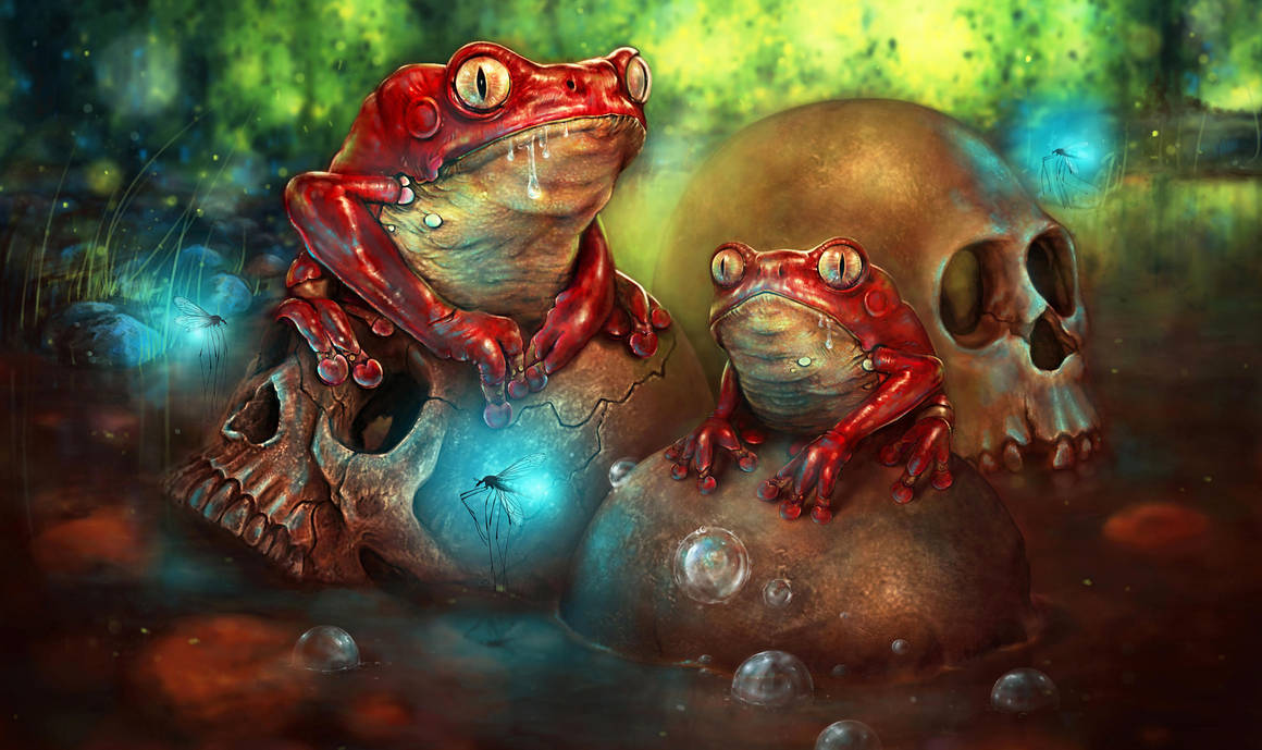 Frogs and skulls by Cyfrolit