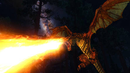 SSE Dragon attack by SkyrimMasterrace