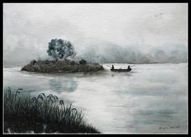 Lake - watercolors. by czajka