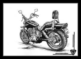 Honda Shadow - pen and ink by czajka
