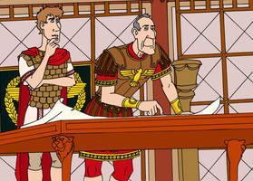 Caesar tutoring Octavian by VoteDave