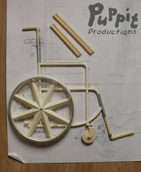 BJD wheelchair WIP: Arranged finished pieces by PuppitProductions