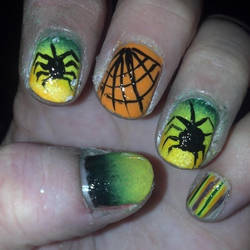 Neon Ombre Spiders and Web by wyldflower