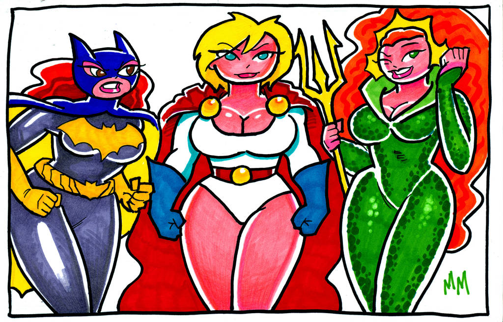 Batgirl,Powergirl,Mera by MarkMoore