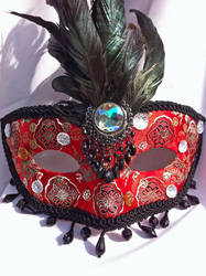 Jet Set Red and Black Mask by DaraGallery