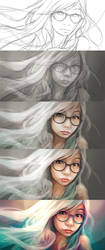 The Making of digital portraits - My sister by engkit