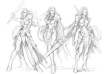 Rough sketch - Female human by engkit