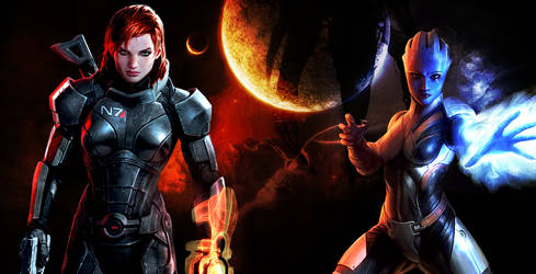 ME3 FemShep and Liara Romance Wallpaper by suicidebyinsecticide