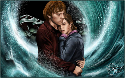 Ron and Hermione by NinaStrieder