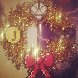 Perler bead nerdy Christmas Wreath commission by TehCK
