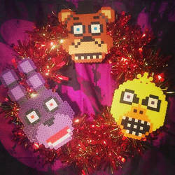 Five Nights at Freddy's nerdy Christmas wreath by TehCK