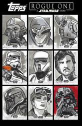 Rogue One Sketchcards by CartoonCaveman