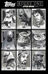 Star Wars Rogue One Sketchcards by CartoonCaveman
