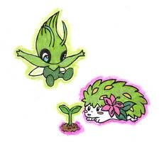 Celebi and Shaymin by Porcubird