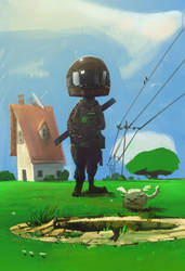 Spaceboy et le puit de st jean de luz by johnlaine