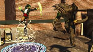 Rooftop Battle - Onyx vs Tailgator by CrownDigitalArt