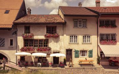 Old town in Gruyere by Swissvoice