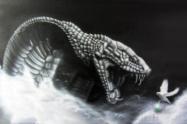 Airbrush on wood - AVARICE by Airgone