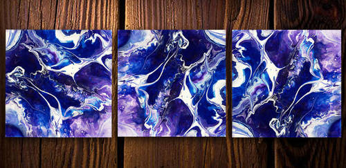 Acrylic inks, spray paint and resin on canvas 2 by Airgone