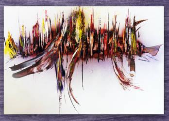 Spray paint on cardboard - Burn ! by Airgone
