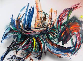 Spray paint on cardboard - Scorpion by Airgone