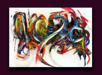 Spray paint abstract on cardboard - Suspens by Airgone