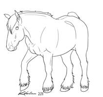 Draft Horse Lineart by Kholran