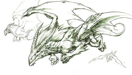 female fire dragon sketch by Chaos-Draco