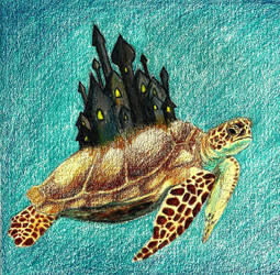 On his shell he holds the earth by Sylpheah