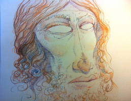 color pencil face by qrowdad