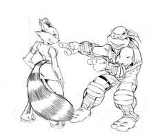 Wrestling Raph and Ninjara WIP by Y2Dane