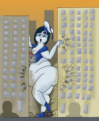 Stay Puft Marshmallow Girl is stuck by garsedj