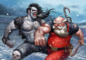 Lobo vs Santa by adam-brown