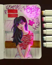 Laundry girl [ vaporwave sketch ] by LadySeegard
